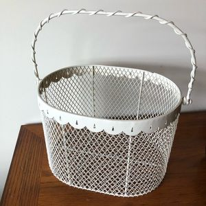 Vintage Metal Accent Basket 70's White Shabby Chic